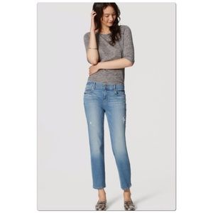 LOFT Light Wash Relaxed Straight Cropped Jean